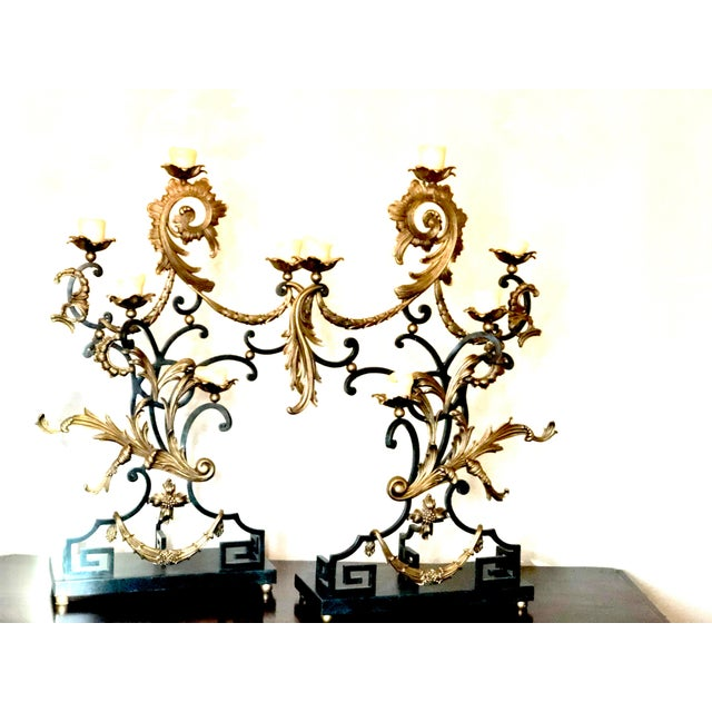 Rococo 18th Century Rococo Style Iron and Brass Candle Holders by Theodore Alexander - a Pair For Sale - Image 3 of 13