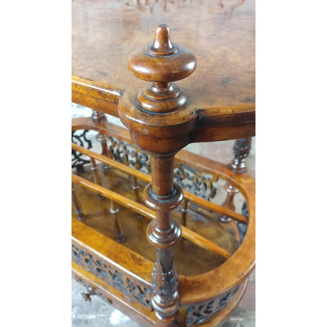 19th c. Georgian Carved Burl Wood Library Book Stand & Magazine rack For Sale - Image 5 of 12