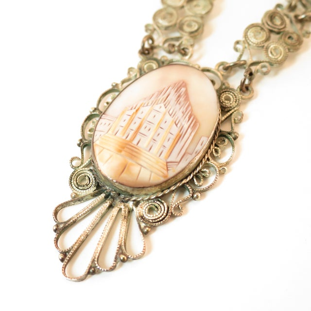 White Victorian-Style Landscape Shell Cameo Filigree Necklace Italy 1950s For Sale - Image 8 of 12