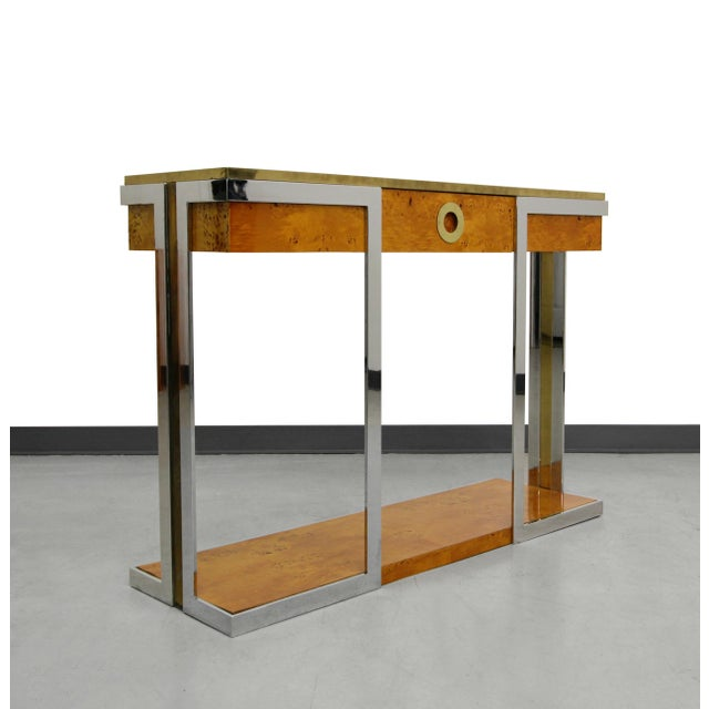 Willy Rizzo Mid-Century Italian Burl Wood Console - Image 2 of 8