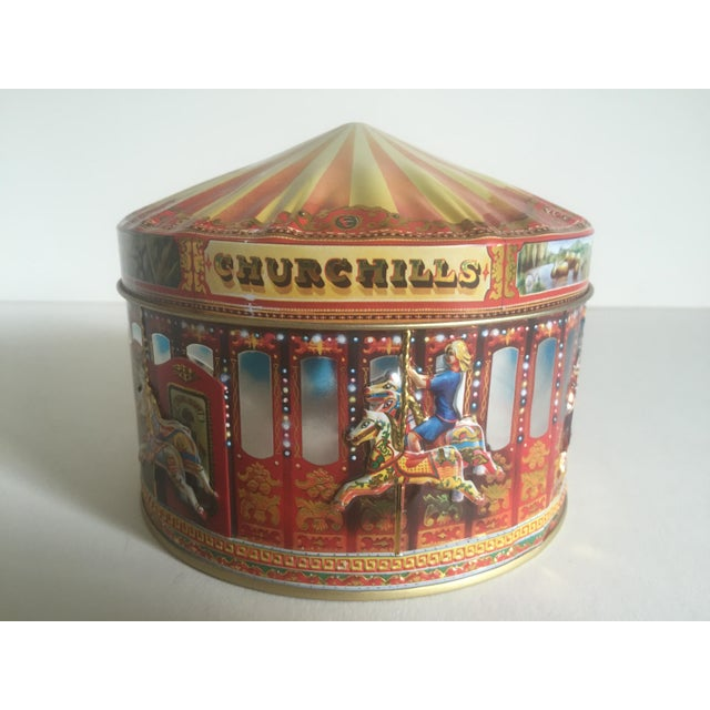 Vintage Churchill's Of London Carousel Candy Tin Box For Sale - Image 5 of 10