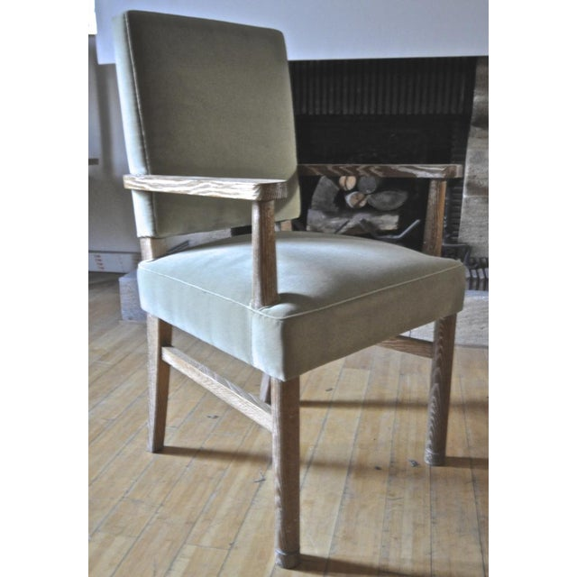 Jacques Adnet Set of 4 Cerused Oak Armchairs.