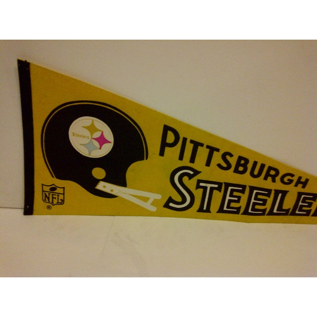 Mid-Century Modern Vintage NFL Pittsburgh Steelers Pennant Flag For Sale - Image 3 of 5