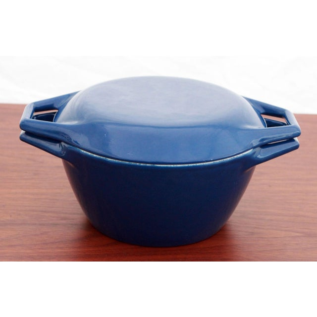 Michael Lax Vintage Blue Michael Lax for Copco Danish Modern Cast Iron Dutch Oven For Sale - Image 4 of 8