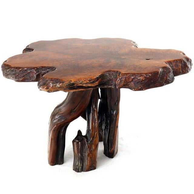 Late 20th Century Burl Wood Natural Free Edge Slab Top Gueridon Center Table For Sale - Image 5 of 12
