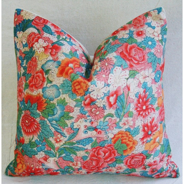 Custom-made soft linen accent pillow. Pillow front is a contemporary printed linen-and-cotton blend fabric depicting a...