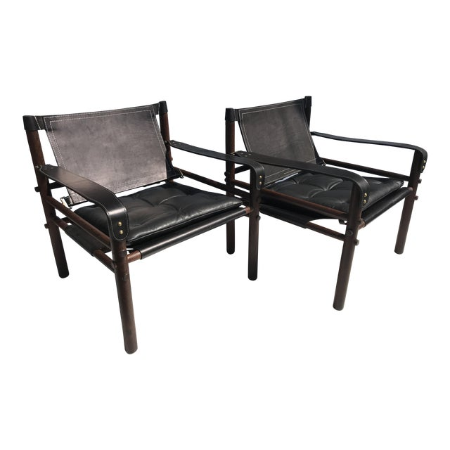 """Pair of Arne Norell Black """"Sirocco"""" Safari Chairs For Sale"""
