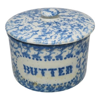 Antique American Blue Sponge Ware Decorated Butter Crock For Sale