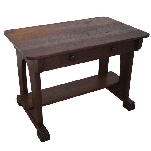 Antique Mission Oak Library Table - Image 1 of 10