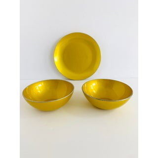 Vintage Mid Century Modern Björk Engo for Emalox Norway Yellow Bowls and Plate Set of 3 Preview