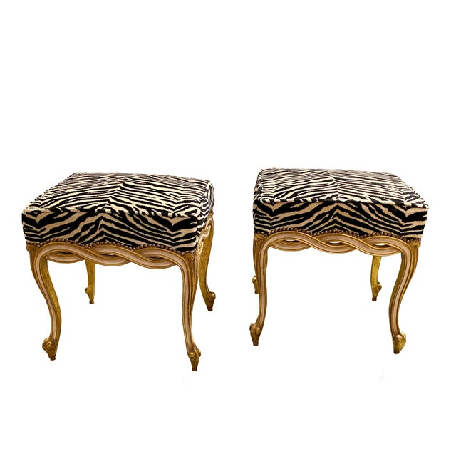 Mid 20th Century Regency Style Taboret Benches With Zebra Velvet - a Pair For Sale - Image 5 of 5