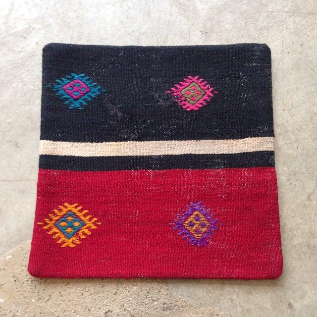 Vintage Black & Pink Kilim Pillow Cover - Image 2 of 5