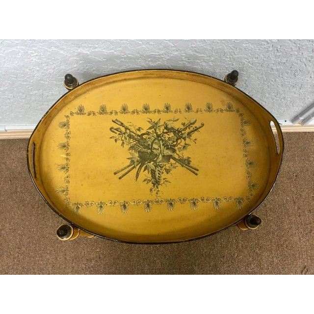 20th Century Italian Yellow Tole Tray Table - Image 6 of 12