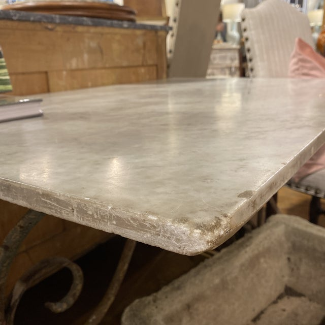 French French Iron Bistro Table with Original Marble Top For Sale - Image 3 of 7