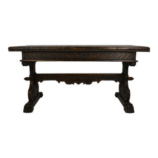 Spanish Style Carved Library / Writing Table - Paw Feet For Sale