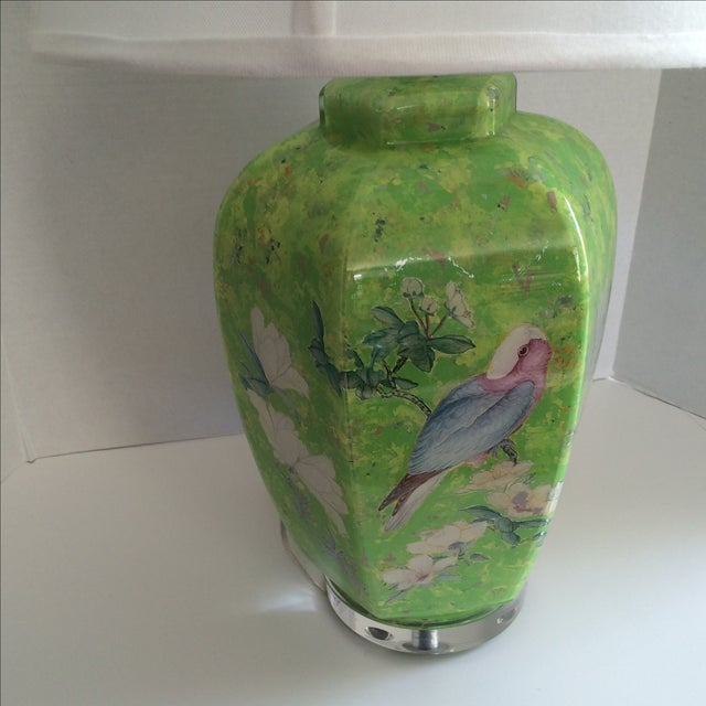 Reverse Painted Decoupage Lamp On Lucite Base For Sale - Image 4 of 9