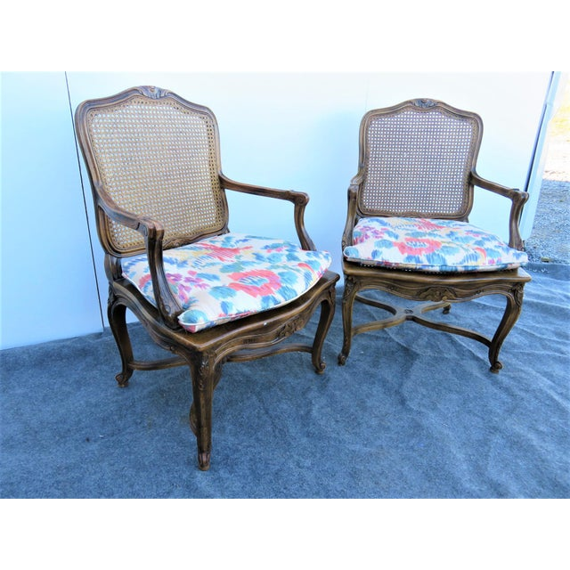 Wood Mid 20th Century Louis XV Oak Caned Open Arm Chairs - a Pair For Sale - Image 7 of 7
