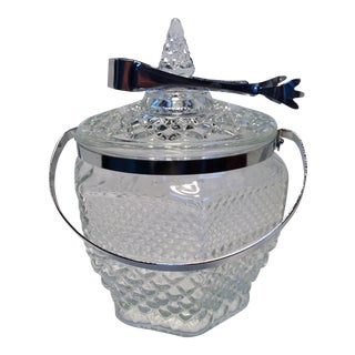 1960s Pressed Glasses Ice Bucket & Tongs