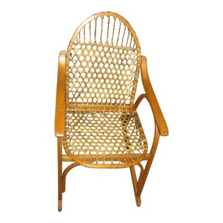 1970s SnoCraft Oak & Rawhide Snow Shoe Style Chair