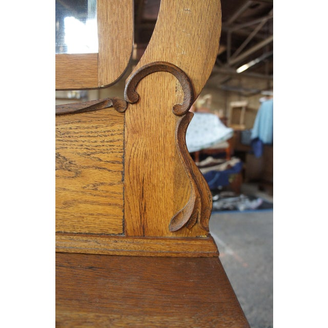 Late Victorian Antique Serpentine Oak Dresser & Carved Wishbone Mirror For Sale - Image 6 of 13