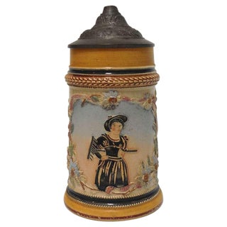 19th Century German Six-Piece Beer Stein Collection For Sale