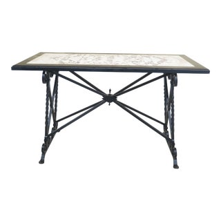 1940s Traditional Marble Top Wrought Iron High Bar Serving Table For Sale
