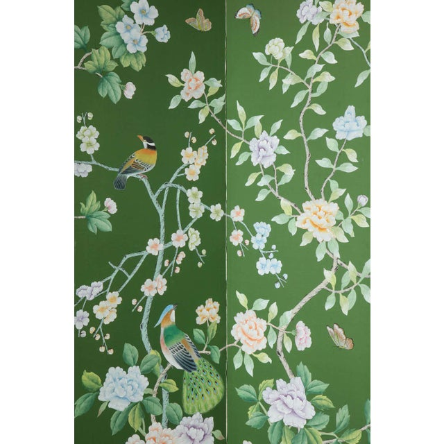 Green Chinoiserie Six-Panel Hand-Decorated Screen For Sale In New York - Image 6 of 11
