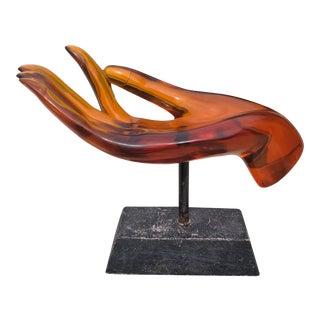 Vintage Amber Lucite Human Hand on Pedestal