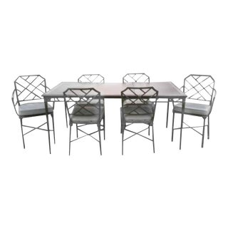 Brown Jordan Seven-Piece Calcutta Faux Bamboo Patio Dining Set
