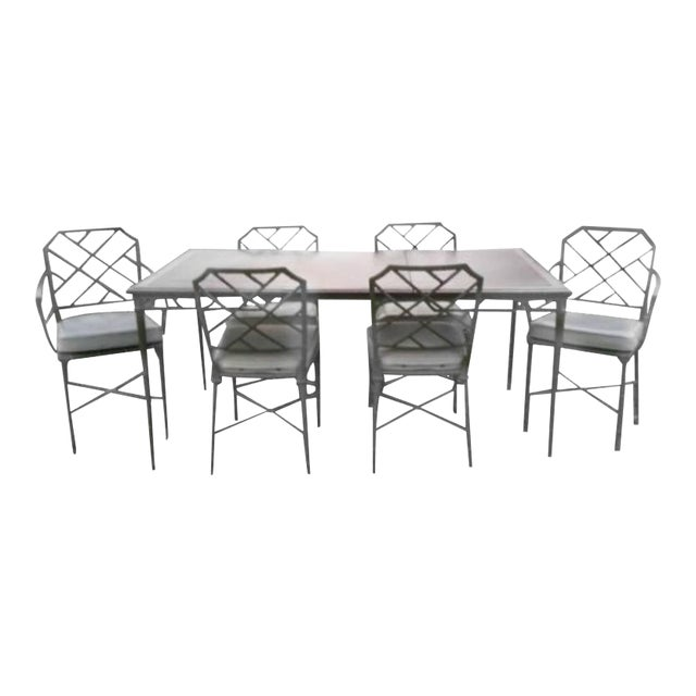 Brown Jordan Seven-Piece Calcutta Faux Bamboo Patio Dining Set For Sale
