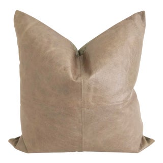 Taupe Leather Pillow 24 X 24 For Sale