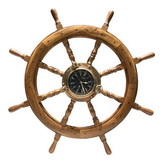 Vintage Art Temple Ship's Helm With Solid Brass Porthole Clock For Sale