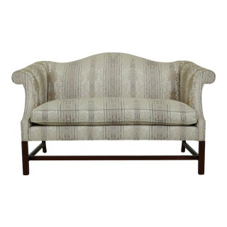 Southwood Camelback Mahogany Damask Loveseat For Sale