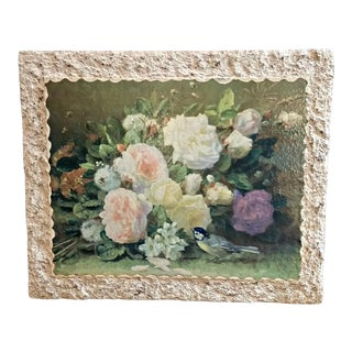 Vintage Hollywood Regency Cabbage Roses Lithograph Print by Jean-Baptiste Robie For Sale