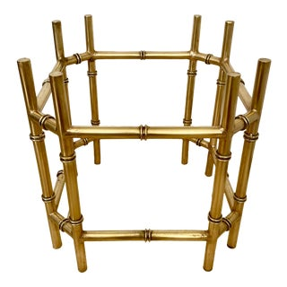 Mid-Century Faux Bamboo Brass Table Base For Sale
