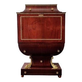 Desk Empire / Biedermeier Style Lyre Form in Mahogany With Gilt Dolphins /Vintage For Sale
