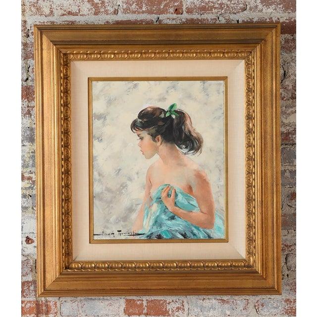 "Igor Talwinski ""Portrait of an Innocent Girl"" oil painting on canvas, circa 1960s. Polish. A beautiful piece that will add..."