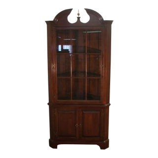 1980s Traditional Harden Solid Cherry Corner China Cabinet For Sale