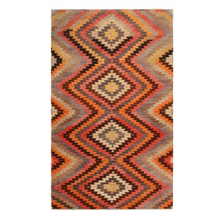 Vintage Mid-Century Afyon Diamond Orange Black and Blue Wool Kilim Rug- 5′9″ × 9′6″ For Sale