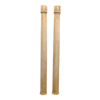 Wall Mounted Fluted Pillars - a Pair For Sale