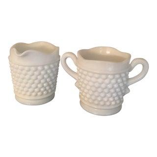 Vintage Fenton White Milk Glass Hobnail Creamer & Unlidded Sugar Bowl - A Pair