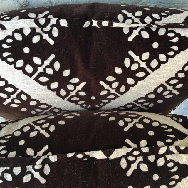 Black Velvet & Silver Pillows - Pair - Image 4 of 5