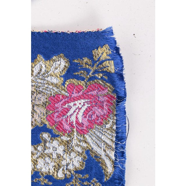 None Gold Embroidered Floral Silk Brocade Textile For Sale - Image 4 of 7