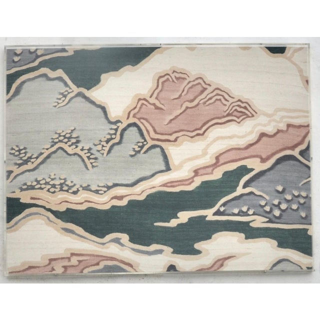 Asian Mid Century Modern Japanese Painted Raw Silk Art For Sale - Image 3 of 4