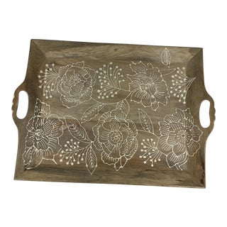 Boho Chic Raised Hand Painted Floral Wooden Tray For Sale