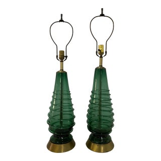 Pair of Mid Century Modern Hand Blown Green Glass Swirl Table Lamps C.1960 For Sale
