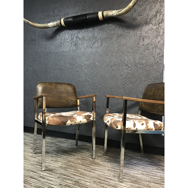 Mid-Century Faux Cowhide Chairs - A Pair - Image 6 of 8