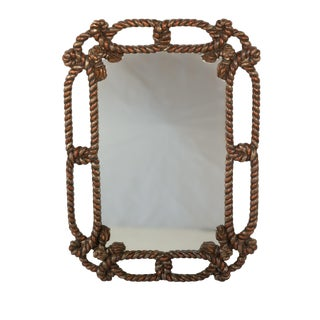 "Napoleon III Painted Carved Wood ""Twisted Rope and Tassel"" Mirror Frame, France, Circa 1870 For Sale"