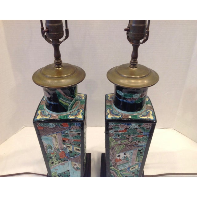 Early 20th Century Early 20th Century Famille Noire Chinese Lamps - a Pair For Sale - Image 5 of 13