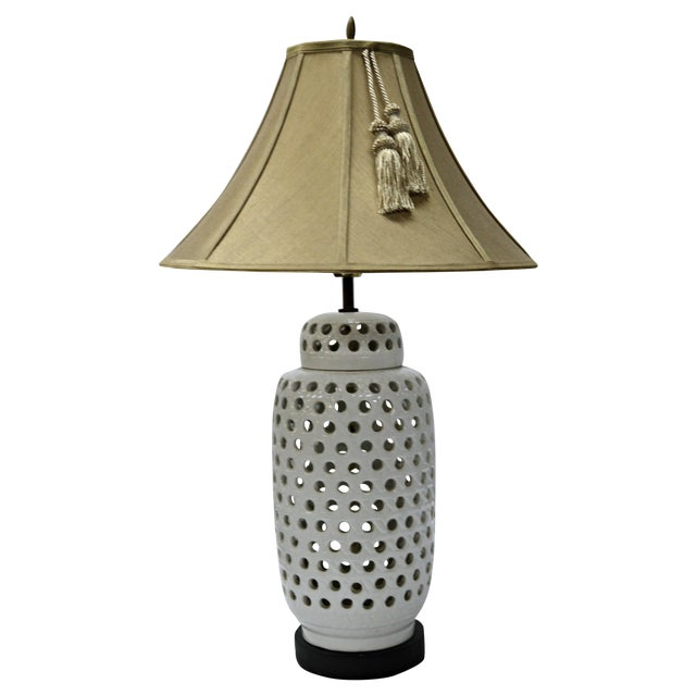 Mid-Century White Perforated Porcelain Table Lamp For Sale